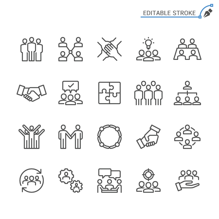 Teamwork line icons. Editable stroke. Pixel perfect.