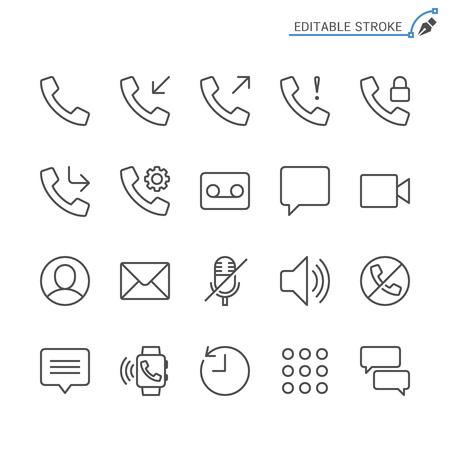 Telephone line icons. Editable stroke. Pixel perfect. 向量圖像