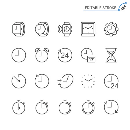 Time and clock line icons. Editable stroke. Pixel perfect. Ilustração