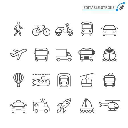 Transportation line icons. Editable stroke. Pixel perfect. 向量圖像