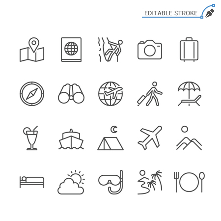 Traveling line icons. Editable stroke. Pixel perfect. 向量圖像