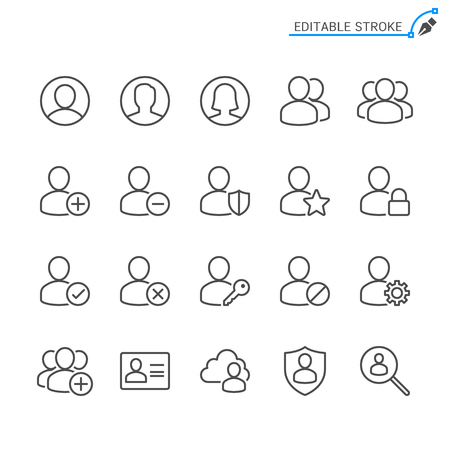 Users line icons. Editable stroke. Pixel perfect. 向量圖像