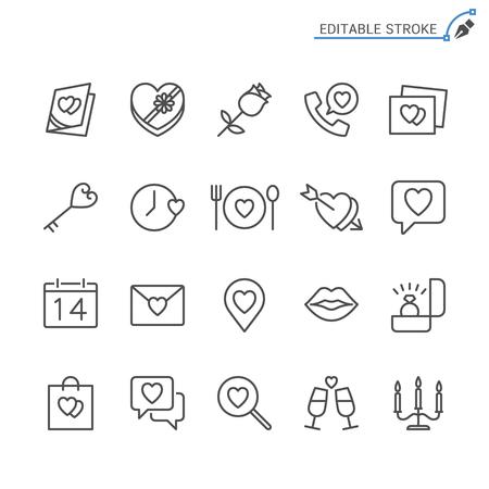 Valentine's day line icons. Editable stroke. Pixel perfect. 向量圖像