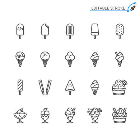 Ice cream line icons. Editable stroke. Pixel perfect. Illusztráció