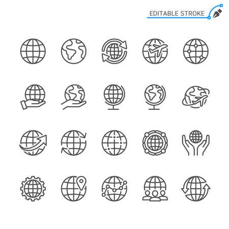 Globe line icons. Editable stroke. Pixel perfect. Illusztráció