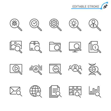 Search line icons. Editable stroke. Pixel perfect. Illusztráció