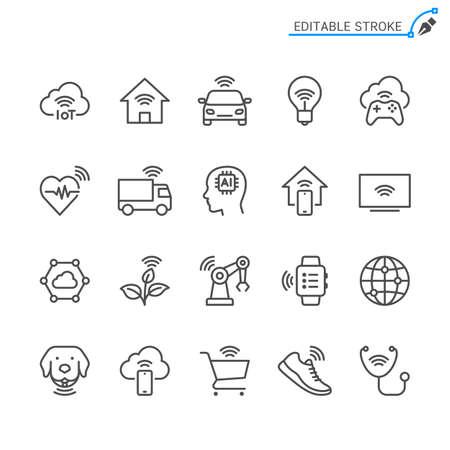 Internet of Things line icons. Editable stroke. Pixel perfect. Illusztráció