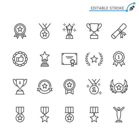 Awards line icons. Editable stroke. Pixel perfect. Illusztráció