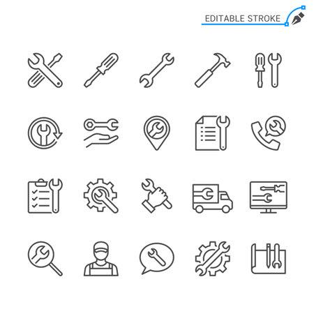Repair line icons. Editable stroke. Pixel perfect.