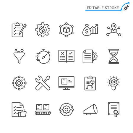 Product management line icons. Editable stroke. Pixel perfect. Illusztráció