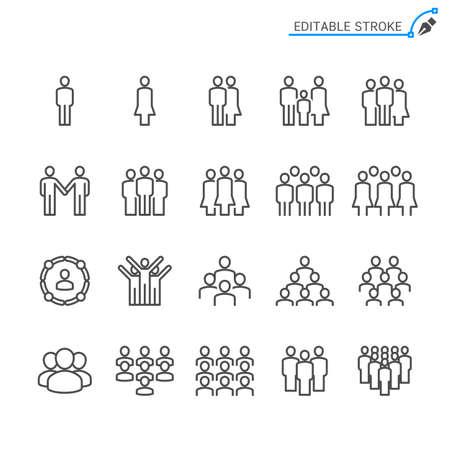 People line icons. Editable stroke. Pixel perfect. Illusztráció