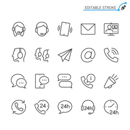 Contact line icons. Editable stroke. Pixel perfect. Illusztráció