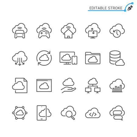 Cloud computing line icons. Editable stroke. Pixel perfect. Illusztráció