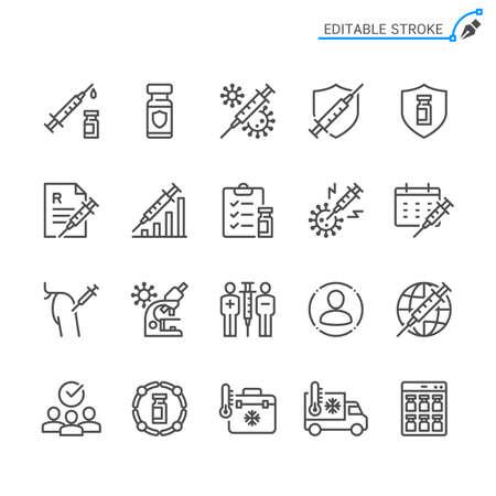 Vaccine line icons. Editable stroke. Pixel perfect.