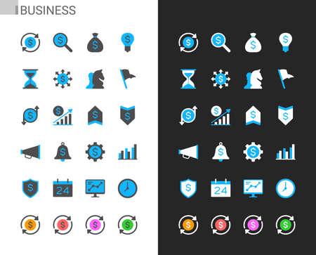 Business icons light and dark theme. Pixel perfect. Illusztráció