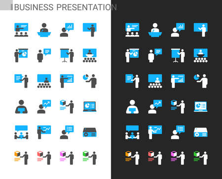 Business presentation icons light and dark theme. 48x48 Pixel perfect. Illusztráció