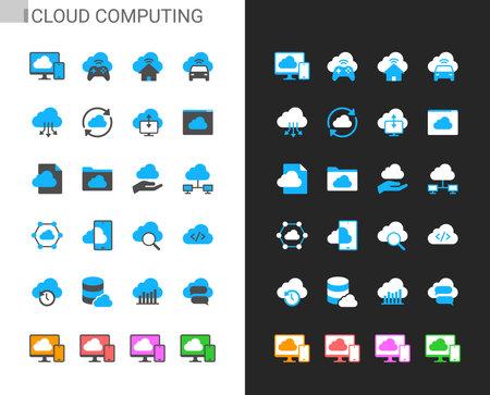 Cloud computing icons light and dark theme. Pixel perfect. Illusztráció