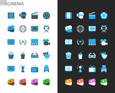 Cinema icons light and dark theme. 48x48 Pixel perfect. Illusztráció