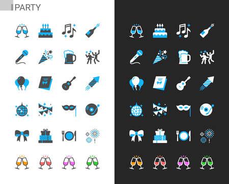 Party icons light and dark theme. 48x48 Pixel perfect. Illusztráció