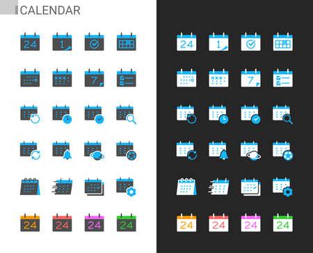 Calendar icons light and dark theme. Pixel perfect. Illusztráció