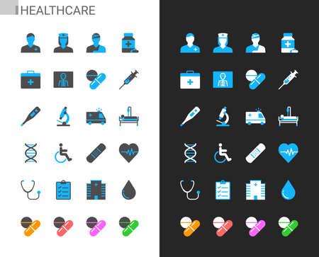 Healthcare icons light and dark theme. 48x48 Pixel perfect. Illusztráció