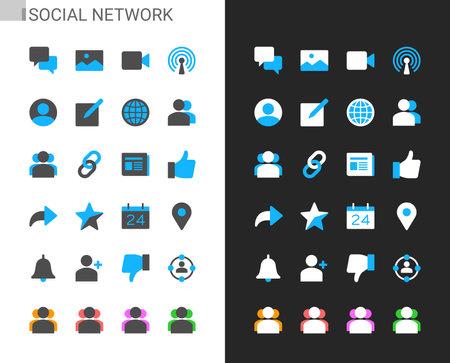 Social network icons light and dark theme. 48x48 Pixel perfect. Illusztráció