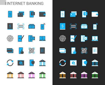 Internet banking icons light and dark theme. 48x48 Pixel perfect. Illusztráció