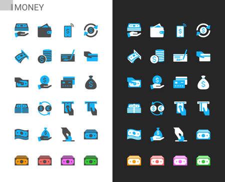 Money icons light and dark theme. 48x48 Pixel perfect. Illusztráció