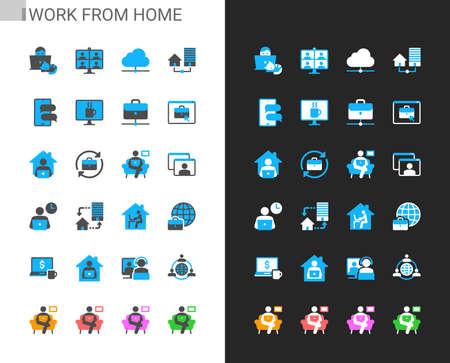 Work from home icons light and dark theme. Pixel perfect. Illusztráció