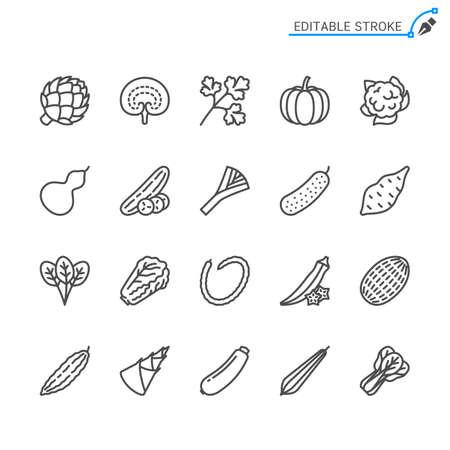 Vegetable line icons. Editable stroke. Pixel perfect. Illusztráció