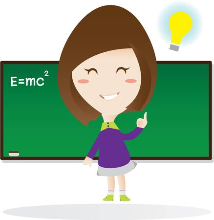 smart girl in the classroom. Vector