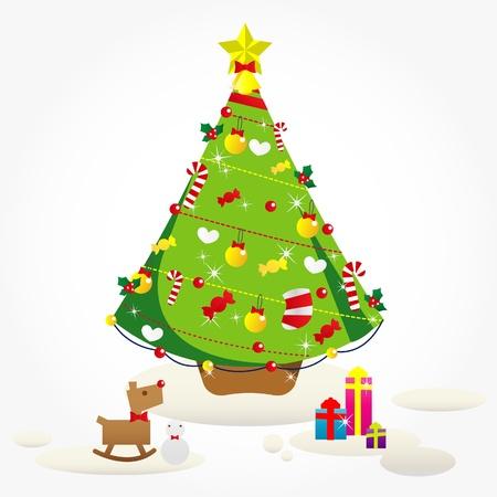 x mas parties: Vector Christmas Tree  Illustration