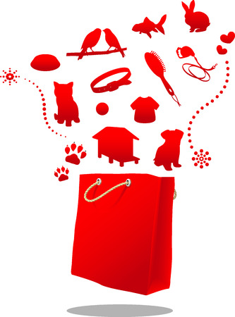 pet store advertising: pet shop sale red bag