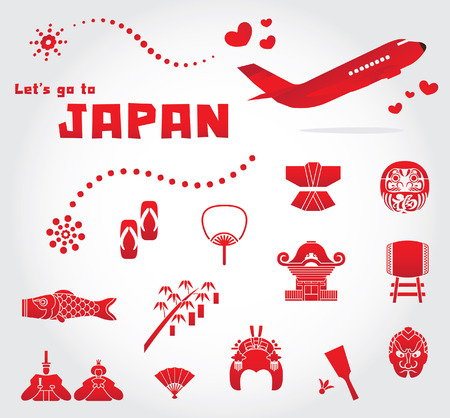 cute japan travel set illustration Vector