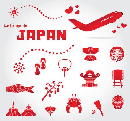cute japan travel set illustration