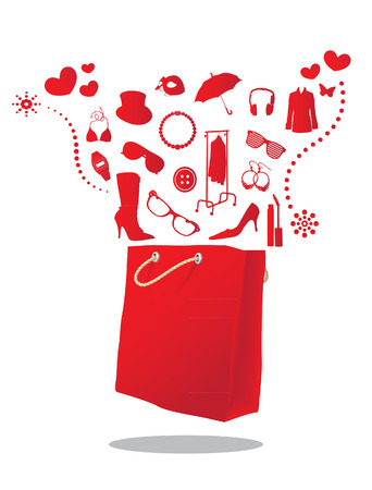 high heeled: fashion shopping bag Illustration