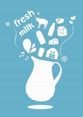 dairy products: fresh milk jar