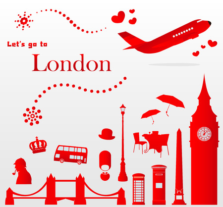 airplane icon: cute London travel set