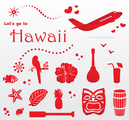 cute Hawaii travel set Vector