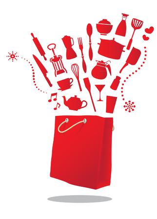 kitchen shopping bag Stock Vector - 23654658