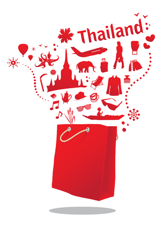 thailand food: travel and shopping in thailand with red shopping bag