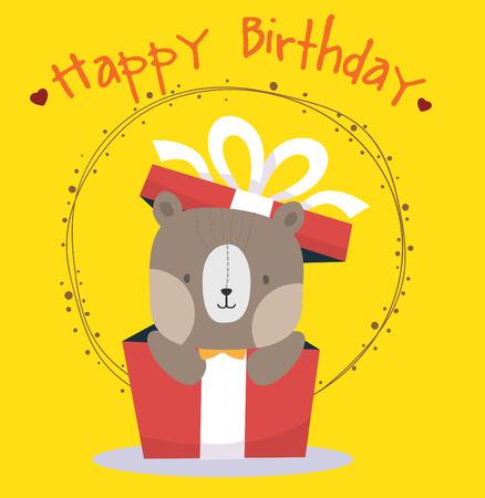 cute bear: cute bear happy birthday card