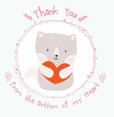 cute cat thank you card Ilustracja