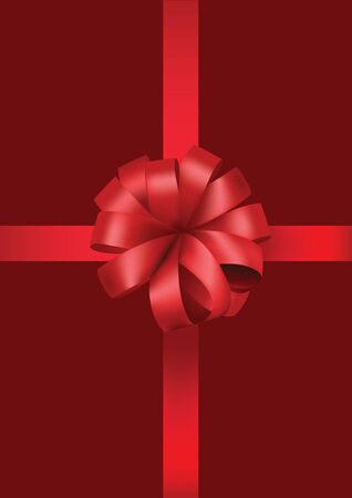 red gift box: red gift box with red bow ribbon Illustration