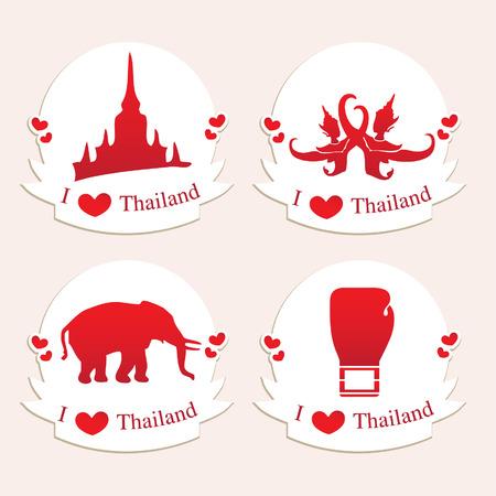 l love Thailand label stamp sticker icons