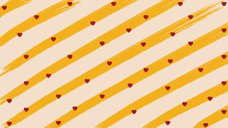 Horizontally slanted orange brushes line stripe with heart background