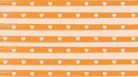 Horizontal orange brushes line stripe with heart background Ilustracja