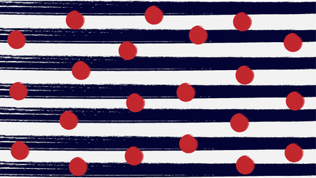 red dot with simple navy blue and white vertical line stripe background