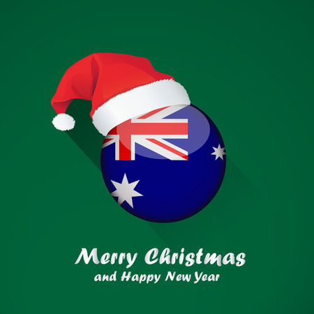 Flag of australia. Merry Christmas and happy new year background design with glossy round Flag of australia. vector illustration.