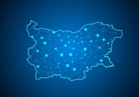 Abstract mash line and point scales on dark background with Map of bulgaria. Wire frame 3D mesh polygonal network line, design sphere, dot and structure. communications map of bulgaria. Vector illustration.  イラスト・ベクター素材